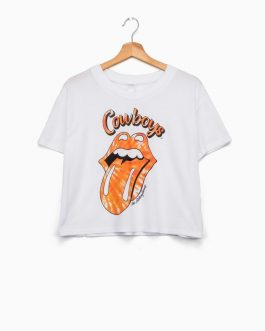 New! LivyLu Rolling Stones Cowboys Crop Top